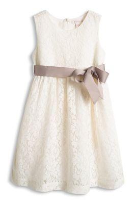 Esprit / Spitzen Kleid mit Ripsband, Baumwollfutter