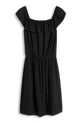 Esprit / Fließendes Carmen-Kleid mit Struktur