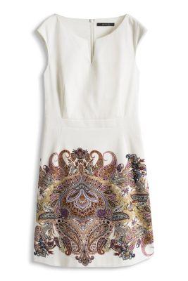 Esprit / Stretch Piqué-Kleid mit Paisley-Print
