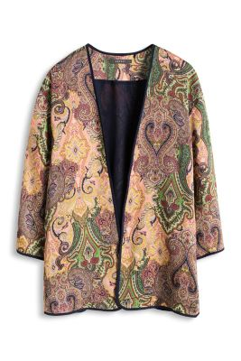 Esprit / Fließendes Print Kimono-Cape aus Satin