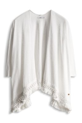 Esprit / Jersey poncho with crocheted lace