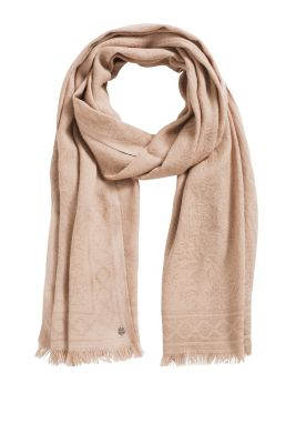 Esprit / Woven scarf with an intarsia pattern