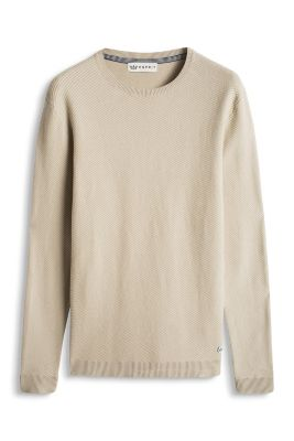 Esprit / Pullover med strukturstriber, 100% bomuld