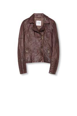 Esprit / Soft nappa leather biker jacket