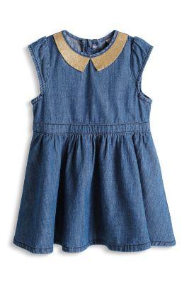 Esprit / Jeanskleid mit Goldglitter-Kragen