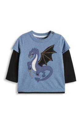 Esprit / Layer Shirt mit Drachen, Baumwoll-Mix