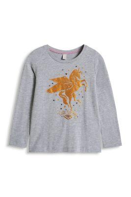 Esprit / Glitter Print Longsleeve, 100% Baumwolle