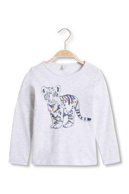 Esprit / Baumwoll Longsleeve mit Tiger-Print