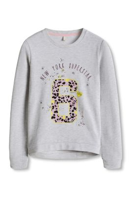 Esprit / Baumwoll-Mix Sweatshirt mit Glitter-Print